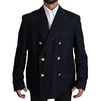 Dolce & Gabbana tummansininen takki takki pellava bleiseri
