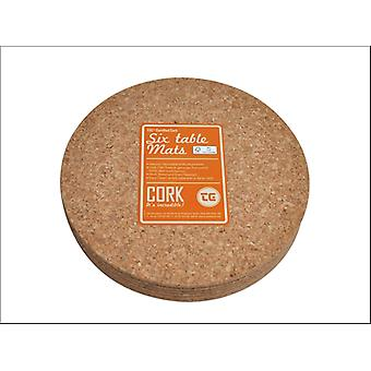 T & G FSC Certified Cork Mats Round 220mm x 6 15034