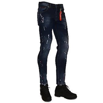 Nico Dolce | Slim Fit Paint Splatter Stretch Denim Jean 6 - Blue