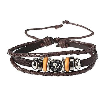 Punk  Men's Bracelet Vintage Multilayer Woven Skull Pattern Chain