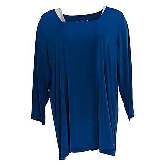 Susan Graver Women's Top Modern Essentials 3/4 Sleeve Blue A378542