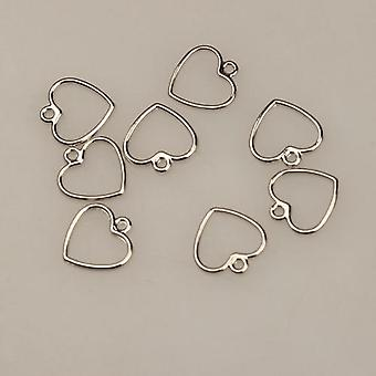 20pcs Mini Sweet Hollow Love Heart Shape Charms For Diy Earrings Jewelry Making