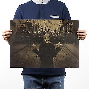 V For Vendetta Vintage Kraft Paperi Elokuva Juliste Sisustus