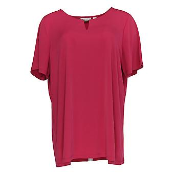 Susan Graver Women's Top Short Sleeve W/ Keyhole Neck Detail Pink A379117
