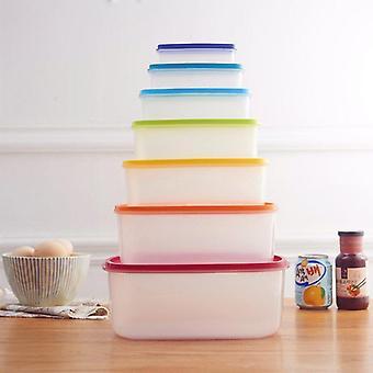 Caixa de armazenamento de alimentos arco-íris de 7 pcs