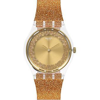 Relógio de silicone brilhante Ge285 Sparklingot Gold Glitter