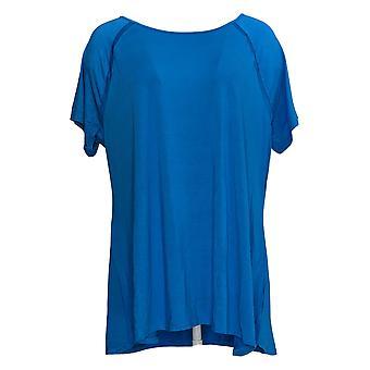 H Por Halston Mujeres's Top XLCrew Cuello Raglan Manga Corta Azul A354103