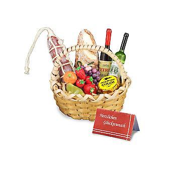 Dom lalek Reutter Wine & Ser prezent kosz miniaturowy utrudniać akcesoria