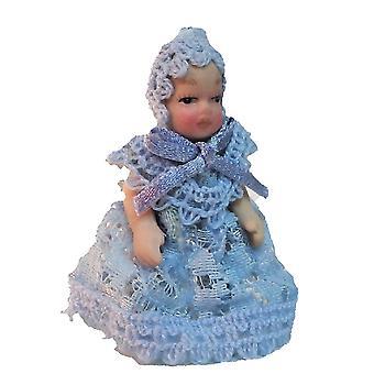 Puppen Haus viktorianischen Baby In blau Spitze Miniatur Porzellan Menschen