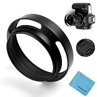 52Mm hollow lens hood,fotover universal metal hollow tilted vented curved lens hood with centre pinc