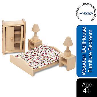 Beluga Classics Drewniane Doll House Meble do sypialni - 9 sztuk