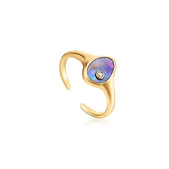 Ania Haie Skinnende Guld Tidal Abalone Justerbar Signet Ring R027-01G