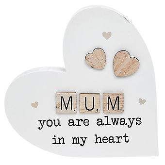 Joe Davies Scrabble Sentiment Standing Heart Ornament - Mum