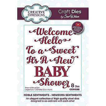 Kreative udtryk Noble Sentiments Collection Cutting Dies - Nyfødte Sentiments