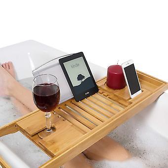 Relux premium 100% luonnollinen bambu kylpy caddy silta 'Äì laajennettavissa ylellinen kirja levätä, viinilasi hold