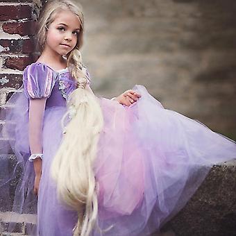 Wysokiej jakości rapunzel peruka + księżniczka dress9 (zestaw 2)
