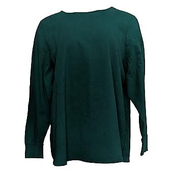 Denim & Co. Women&s Top Plus Perfect Jersey z zakrzywionym hem green A389885