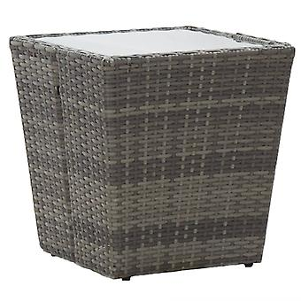 Tea Table Grey 41.5x41.5x43 Cm Poly Rattan And Tempered Glass