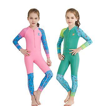 الأطفال البدلة الطويلة الأكمام قطعة واحدة الأشعة فوق البنفسجية حماية ملابس السباحة الحرارية dfse-21