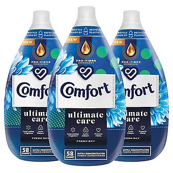3x of 870ml Comfort Ultimate Care Fresh Sky Concentrated Fabric Conditioner 58W