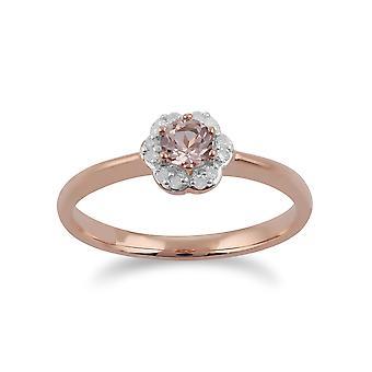 Gemondo 9ct złota róża 0,18 ct Morganite & diament pierścionek