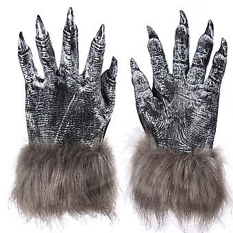 Vinyl Wolf Claw Cosplay Gloves Halloween Party Costume Grey