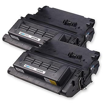 2 cartucce toner laser nere Go Inks per sostituire HP CE390A (90A) compatibile/non OEM per stampanti HP Laserjet Pro
