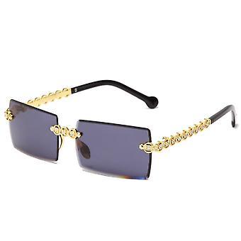 Rimless diamante óculos de sol marca design mulheres pequenos quadrados de metal óculos de sol tons de luxo uv400