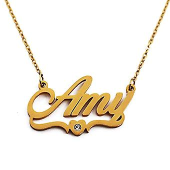 Kigu Amy - Halsband med namn, anpassningsbar, hjärtformad, guldpläterad, för kvinna, flickvän, mamma, syster