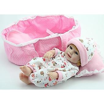 H made real looking vinyl silicone newborn baby girl doll bed pl-569