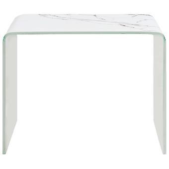 vidaXL Table basse blanc verre trempé 50 x 50 x 50 x 45 cm