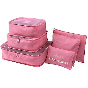 Pink 6 pcs travel storage bags waterproof clothes pcsing cube luggage organizer pouch cai352