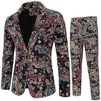 M barna férfi 2 darab gyűrött hajtóka virágos 1 gombos vékony fit szalagavató tweed öltöny x2369