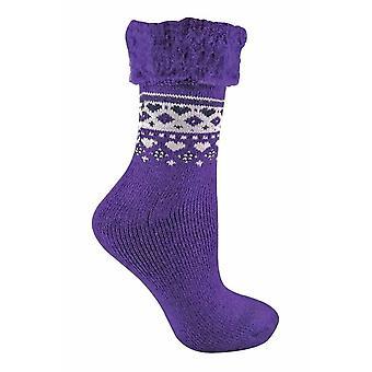 Damen Drehen Sie über Top Thermal Bett Socken