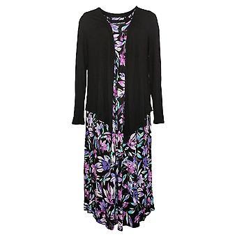 Carole Hochman Petite Dress Elysian Floral Lounge Set Black A302177