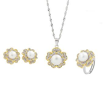 Jewelry Set Handmade S925 Natural Pearl Women Necklace Earrings Ring For Wedding