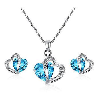 Earrings Set Blue Heart Zircon Micro Inlaid Doppel Herz Short Women Necklace Earrings For Ball