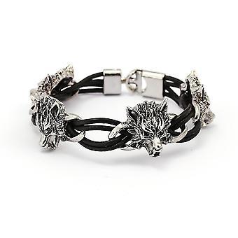 Ethnic Cuff Bracelets Wolf pendant Wax Rope Elasticity Bangle Bracelet Retro