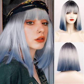 Short bob wigs with bangs  synthetic bob wigs pink/purple cosplay wigs shoulder length bangs hair