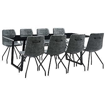 vidaXL 9 pcs. Dining Group Black Faux Leather