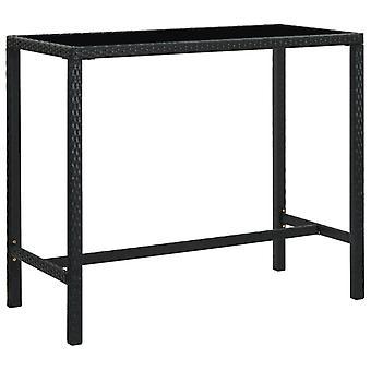 vidaXL Garden Bar Table Black 130x60x110 cm Poly Rattan and Glass