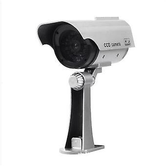Solar Powered Simulation Camera Sikkerhed CCTV Dome Kamera Udendørs med 30 LED Night Light