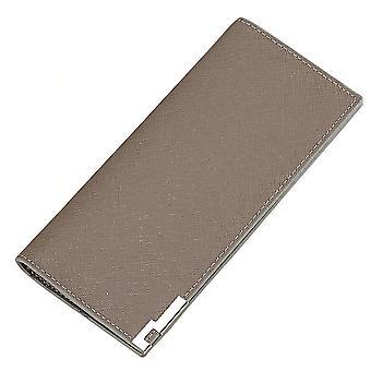 Pánské dlouhé vícedílné pozice cross grain metal peněženka pouzdro na kartu (Khaki)