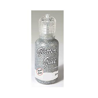 20ml Metallic Silver Fine Liner Craft Glitter Glue