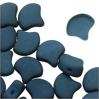 الزجاج التشيكي، 2-هول جينكو الخرز 7.5mm، 10 غرام، ماتي المخملية الظلام البط البري