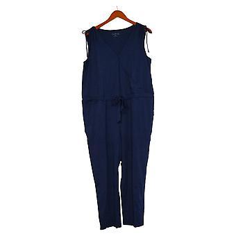 AnyBody Petite Jumpsuits Cozy Knit V-Neck Surplice Blue A377794