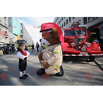Mascote REDBROKOLY.COM grandes ursos de pelúcia marrom em uniforme de bombeiro