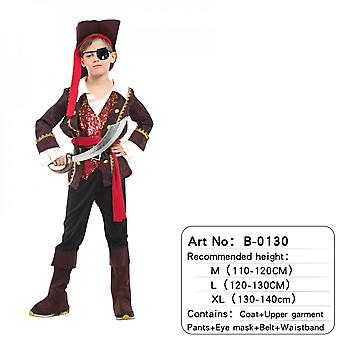 Children's Pirate Costume With Shoes, Hat And Belt Men's And Women's Clothing Pirates Of The Caribbean Captain Set-(b00130)