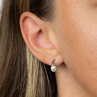 Elementer Guld 9ct Hvid Guld Diamond & Ferskvand Pearl Leaf Design Dangle Stud Øreringe