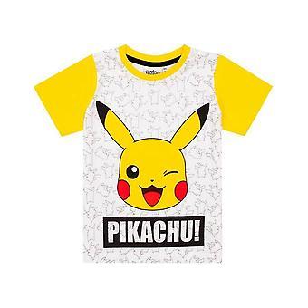 Pokemon Boys Pikachu Ansikte Kort Pyjamas Set